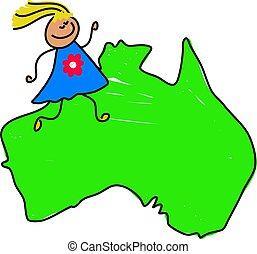 australian kid - happy little girl walking on a map of...