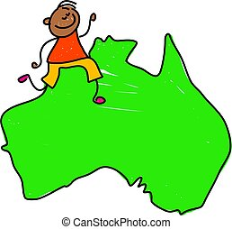 australian kid - happy little ethnic boy walking on a map of...