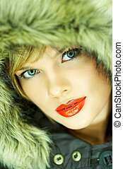 Hooded jacket - Portrait of beautiful woman wearing hooded...