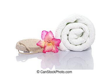 toalla, gladiola, piedra pómez