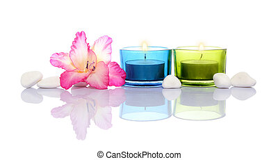 gladiola, velas, blanco, río, piedras