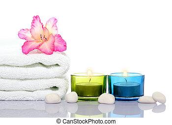 gladiola, blanco, toalla, velas, blanco, río, piedras