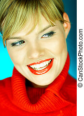 Red Sweater - Portrait of beautiful woman wearing red...
