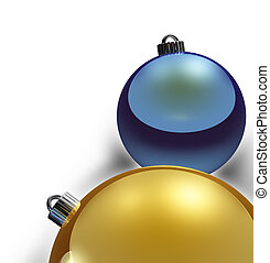 Christmas Border, metallic gold and blue xmas balls
