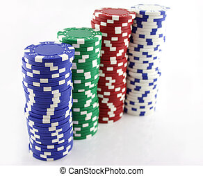 4 Stacks of Chips - 4 Stacks of Casino Chips in a line