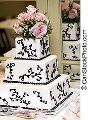 Wedding Cake - a wedding cake with pink roses very shallow...
