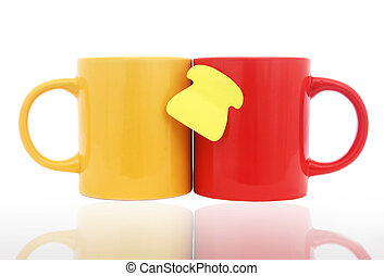 Mugs and Note - Red and yellow mugs with reflections and...