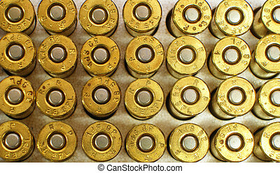 Bullets - Close up of cartridges for a .38 special hand gun.