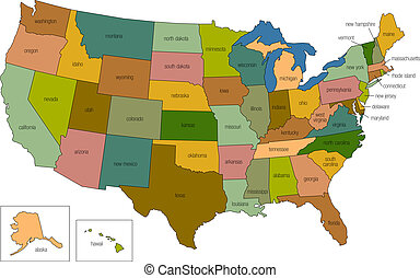 united states 01 - a full color map of the united states of...