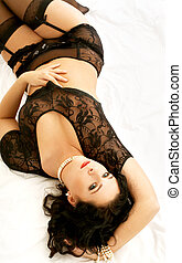 lovely brunette in black lingerie - image of lovely brunette...