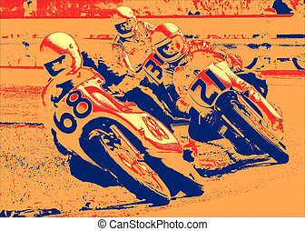Serious Business 1 - Three motorcycle racers corner at high...