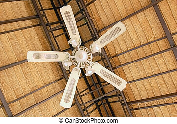 Ceiling fan - Large ceiling fan under a thatched roof