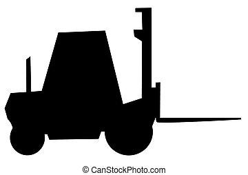 fork-lift trucks, sillouette