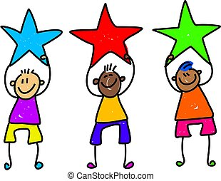 star boys - happy and diverse team of children holding stars...
