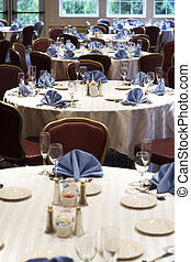 Wedding or restaurant tables - tables set for fine dining at...