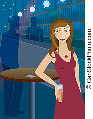 Getting Noticed at the Bar - Woman at a bar or club, drink...