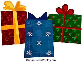Holiday Gifts - Holiday gifts wrapped in different holiday...