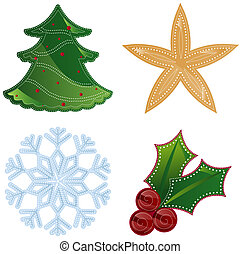 Holiday Trinkets - Colorful holiday shapes decorated with...
