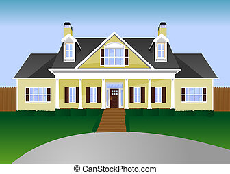 House Illustration - Yellow suburban home with green lawn...