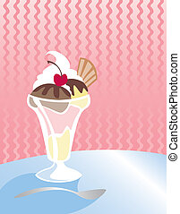 Ice Cream Sundae in a tall glass - Strawberry, Vanilla and...