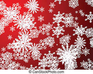 snowflake red new - A snow flake scene falling from the sky...