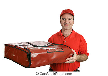 Pizza Man and Thermal Bag - A pizza delivery man carrying a...
