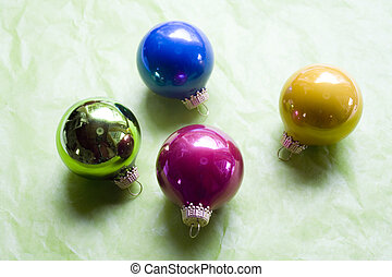 Christamas Ornaments on Green Background - Glass Christmas...