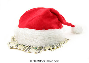 Santa furry red  hat and us dollar with white background