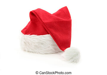Santa furry red  hat with white background