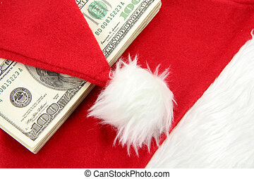 Santa furry red hat and us dollar, business concept