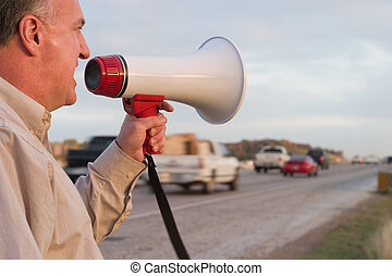Serious Road Rage - Middle aged man with a serious case of...