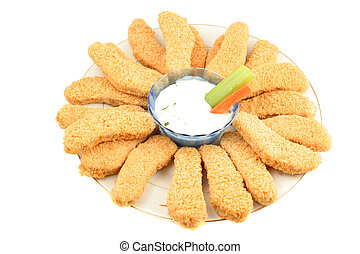 chicken fingers - plate of crispy chicken fingers with...