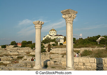 orthodox temple - Ancient Greek columns on a background of...