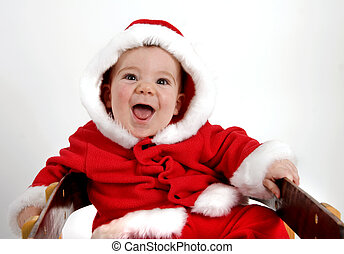 Baby Santa - Baby boy dressed in red Santa coat and hood...