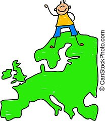 European kid - happy little caucasian boy standing on a map...