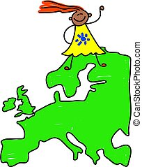 European kid - happy little ethnic girl standing on a map of...