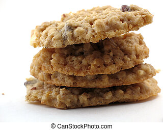 Homemade cookies in a pile - Pile of four homemade oatmeal...