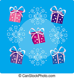 Christmas decoration of snowflakes and gifts
