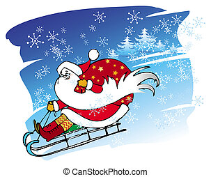 Santa goes with a sledge