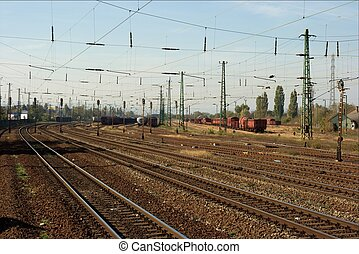 Railway system - Many railway tracks and some trains