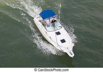 White boat - White powerboat in a river