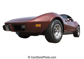 Red Corvette - Hot Red Sports Car; isolated, clipping path...