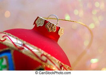 Christmas ornament - Closeup of red christmas tree ornament...