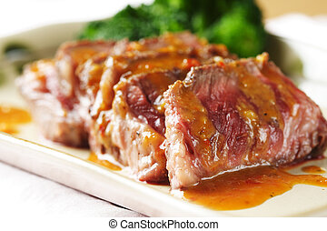 Tender beef - Slices of tender beef served with peanut sauce