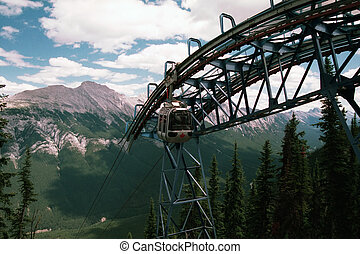 Gondole 1 - Banff Gondola in the Rockies in partially sunny...
