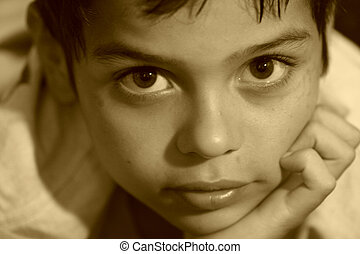 Deep in thought - Young child in deep thought