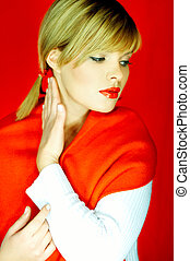 Fashion Lady - Portrait of Beautiful woman with red lipstick...