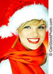 Santas Girl - Portrait of beautiful blond young woman...