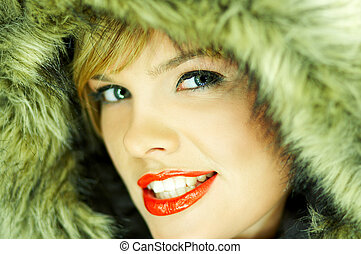 Hooded Jacket - Portrait of beautiful woman wearing hooded...