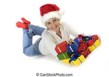 tanja - young female laying down with christmas presents